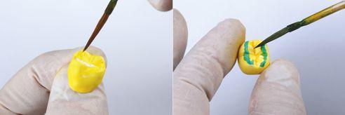 Abb. 4 Es folgen die Bemalung von Body und Schneide- bzw. Okklusalbereich. Abb. 5 Mit Blue und Grey kann der Schneide- bzw. Okklusalbereich gestaltet werden, …