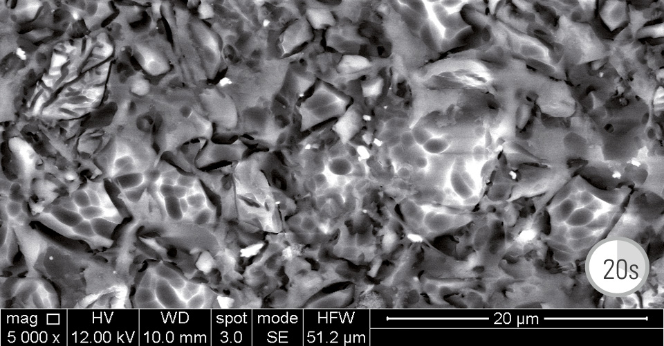 Fig. 2: Hybrid ceramic surface after hydrofluoric acid etching for 20 seconds.