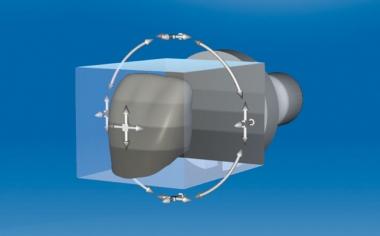 Fig. 6: Mediante el posicionamiento de la restauración en el bloque se pueden regular la transición cromática y la translucidez.