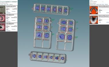 Ill. 9 Les VITA VIONIC DD FRAMES dans le logiciel CAO avant la modification CAO basale circulaire des dents prothétiques.